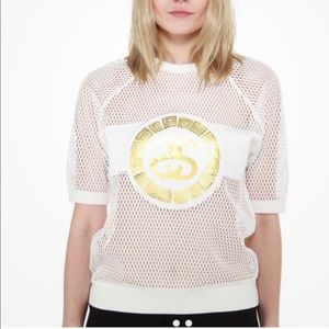 Stussy White Mesh T-Shirt Jersey Women Size Medium